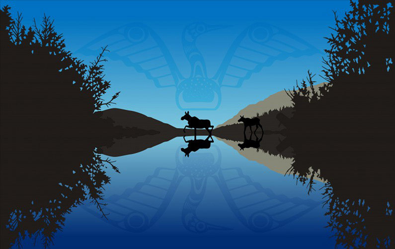 A cow and calf moose in the dawn light with West Coast First Nation design in sky and water reflection