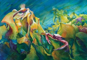 A painting depicting an underwater seascape featuring sinuous kelps and intertidal organisms
