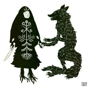 Characters from the story Baba Yaga and the Wolf are depicted.