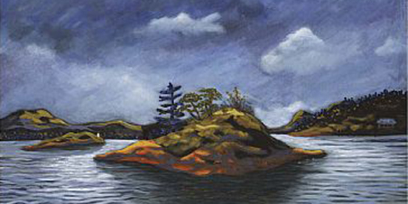 A painting by Mae Moore of the Islet of Grimmer near Pender Island