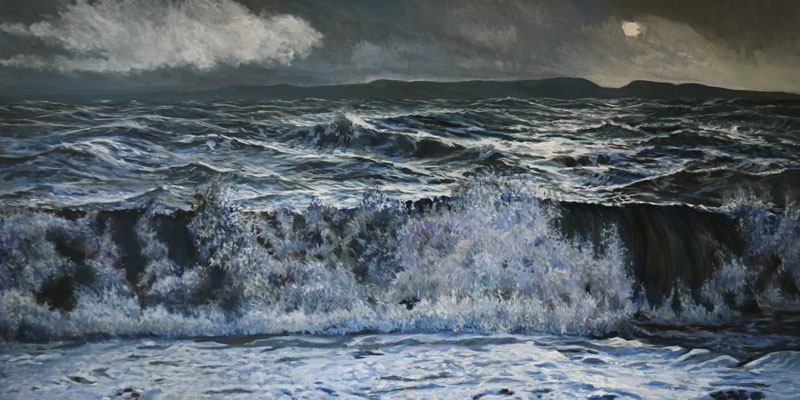 A painting of waves crashing ashore on a moonlit night with coastline in the far background