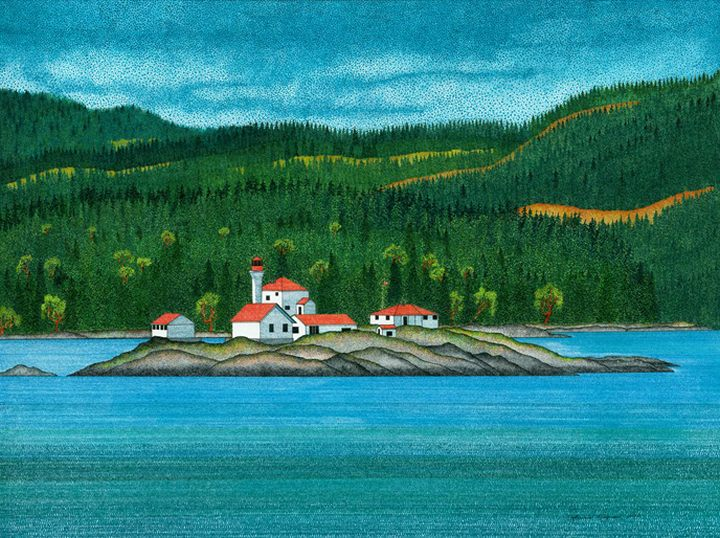The Entrance Island Lighthouse perched on a small islet with rolling hills in the background