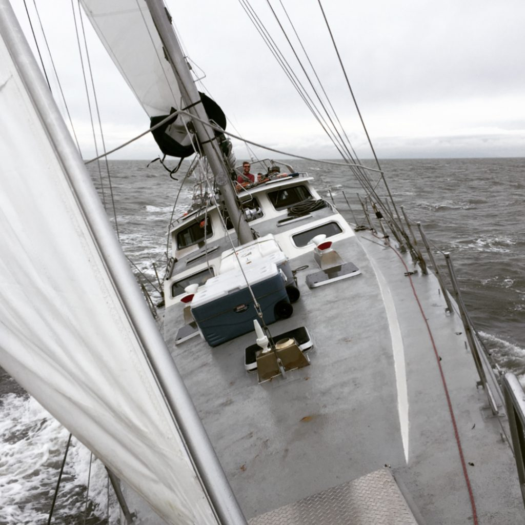A grey day and a topsy turvy day aboard the Achiever research vessel on the Salish Sea.