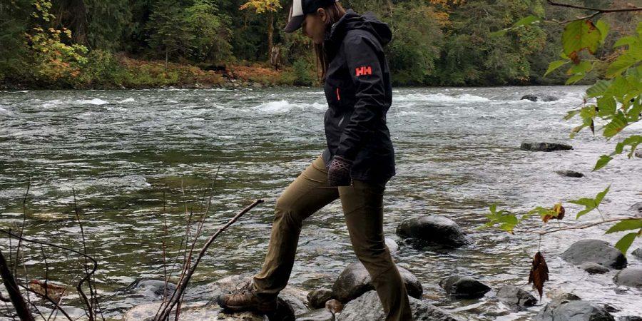 Lauren Hensen stays dry in the Great Bear Rainforest with Helly Hansen gear.