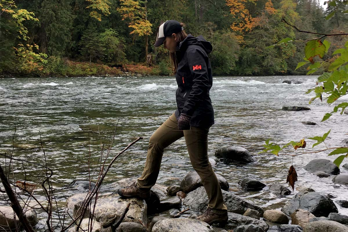 Lauren Hensen stays dry in the Great Bear Rainforest with Helly Hansen gear.