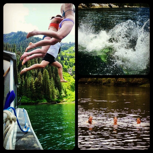 Triptych: Photo 1 depicts lower bodies of three people mid air jumping off a boat into the water; Photo 2 depicts the splash of water; photo 3 shows three heads smiling at the camera from the water post-dive