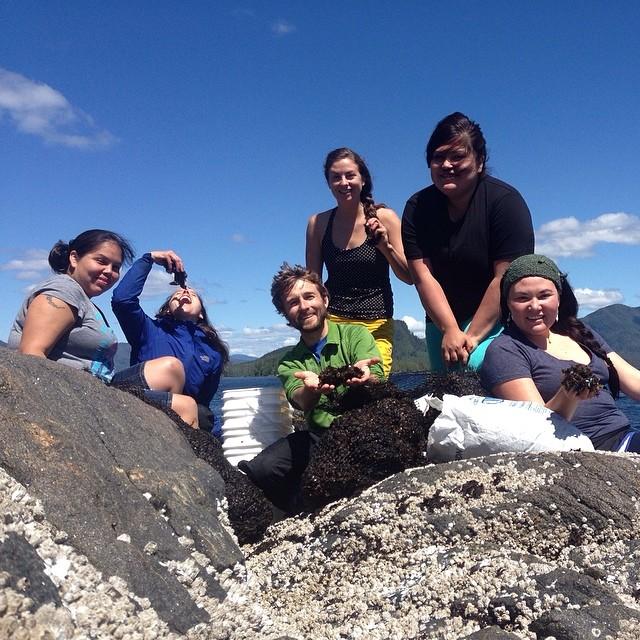 6 Raincoast staff pose on rocks with seaweed with a blue background sky