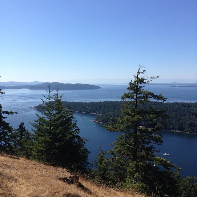 View of Salish Sea from a hill lookin out to Haro street and Turn point