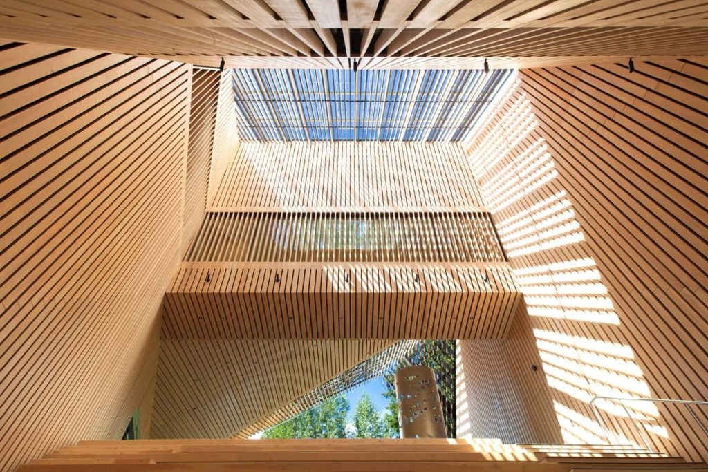 Audain Art Museum in Whistler; cool, funky wood ceiling.