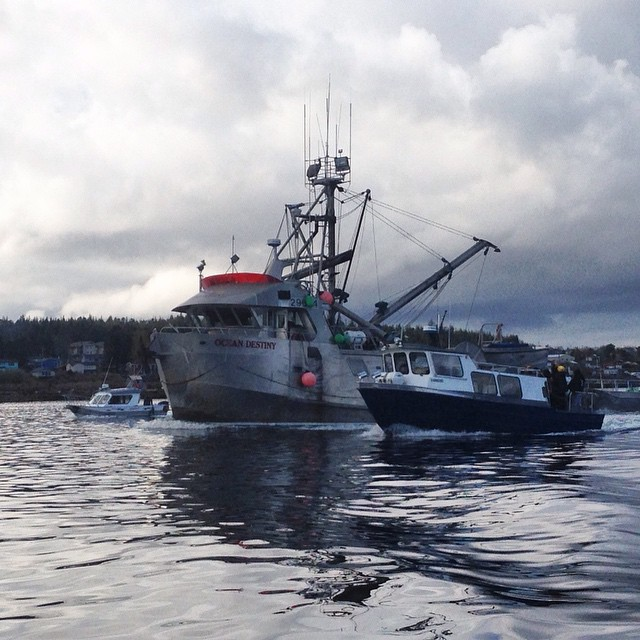commercial fishing boat being escorted out of Heiltsuk Nation waters by Heiltsuk youth on a boat to mark end of commercial herring fishing