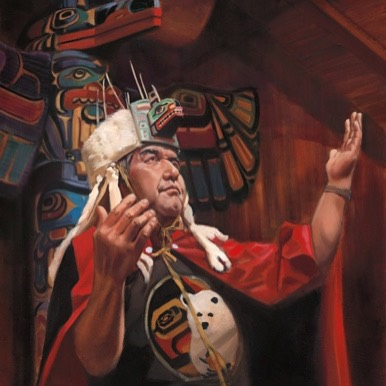 Artist David Goatley's painting of Kitasoo/Xai'xai Hereditary Chief Charlie Mason