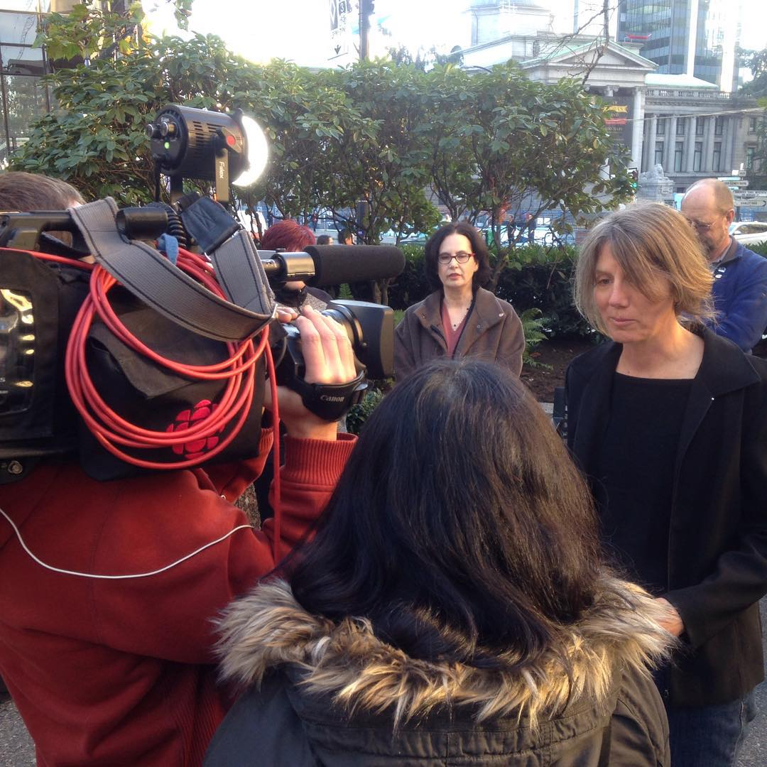 Raincoast staff biologist Misty Macduffee speaks to reporters outside the court