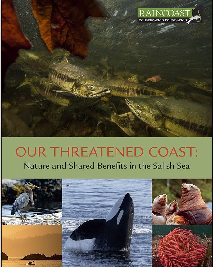 "Cover image of Raincoast Conservation Report with images of orcas and ocean with a kayaker in it, seals, a heron and salmon, with the title ""Our Threatened Coast"""
