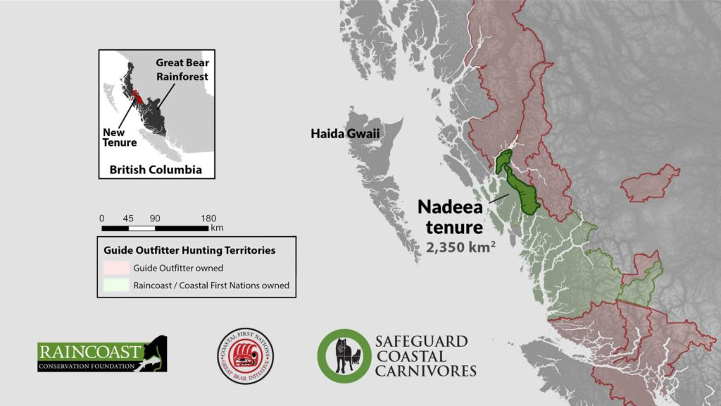 A map of the Nadeea tenure with logos by Raincoast Conservation Foundation and Central Coast First Nations.