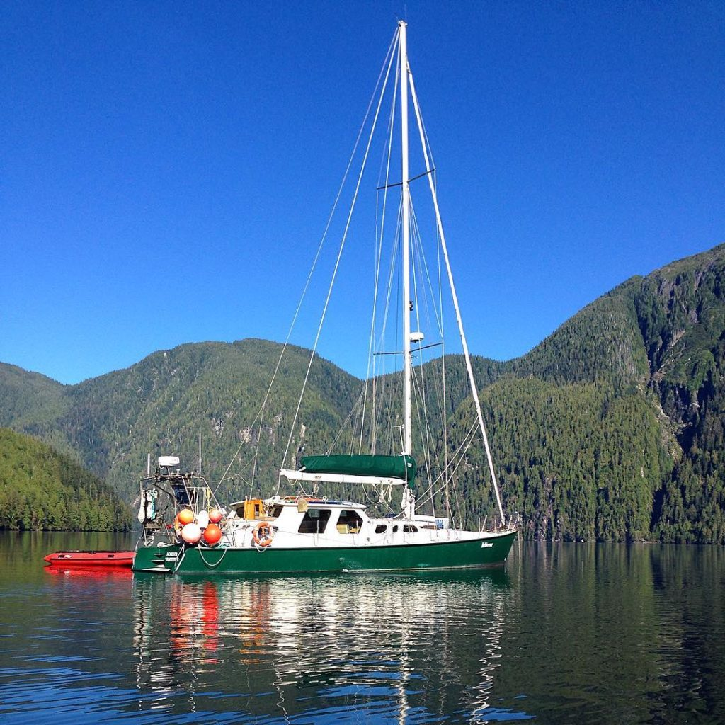Raincoast Conservation boat Achiever in anchorage in a beautiful spot in Kitasoo/Xai'xai