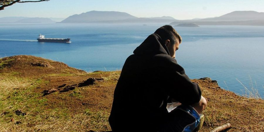 Person sitting on a hill overlooking the ocean,