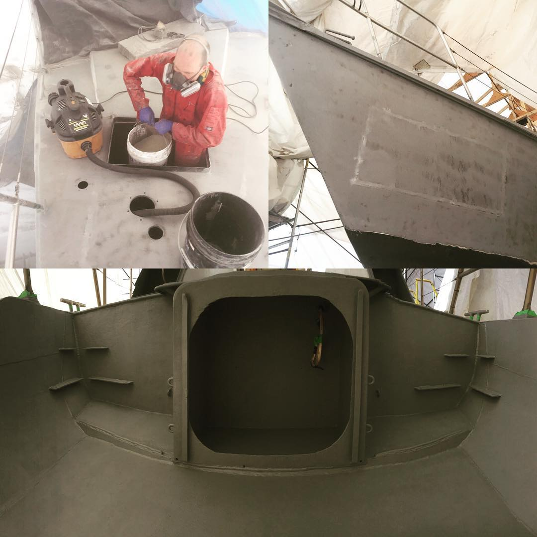 Three photos of the inside of a sailboat with one person working with buckets and a mask.