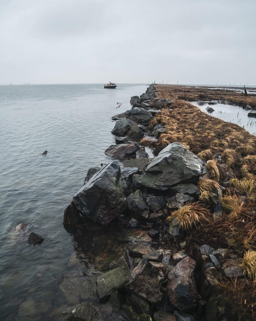 A rocky shore with the ocean spreading out on the left.