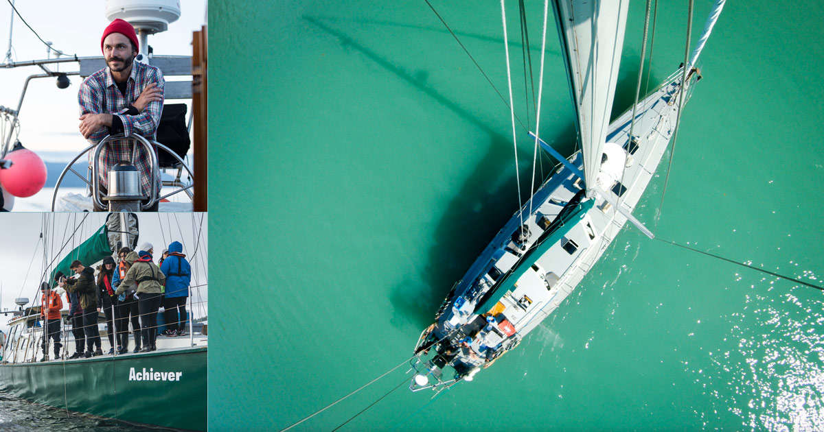 Triptych of photographs. Biggest picture is aerial shot of Raincoast boat Achiever with sail up in sea green water. Top left is skipper Nick Sinclair in a red beanie on the boat. Bottom left is a group of people with cameras and other equipment standing on the boat looking at the water to its side.