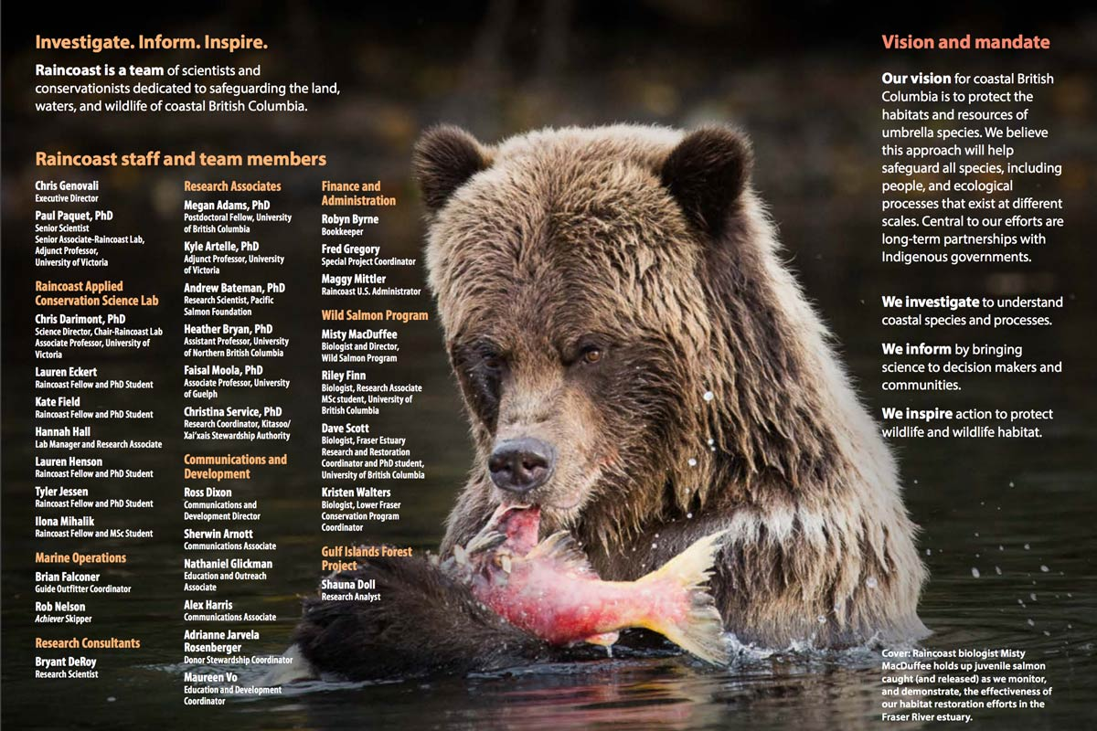 Team page from Tracking Raincoast is a long list of people on top of an epic Grizzly bear eating a salmon.