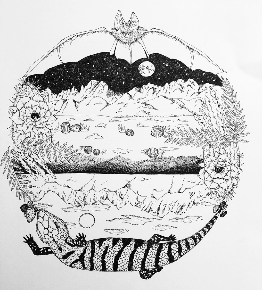 Circular print image of a black and white sketch with a lizard in the bottom and various elements depicting the desert in an art piece