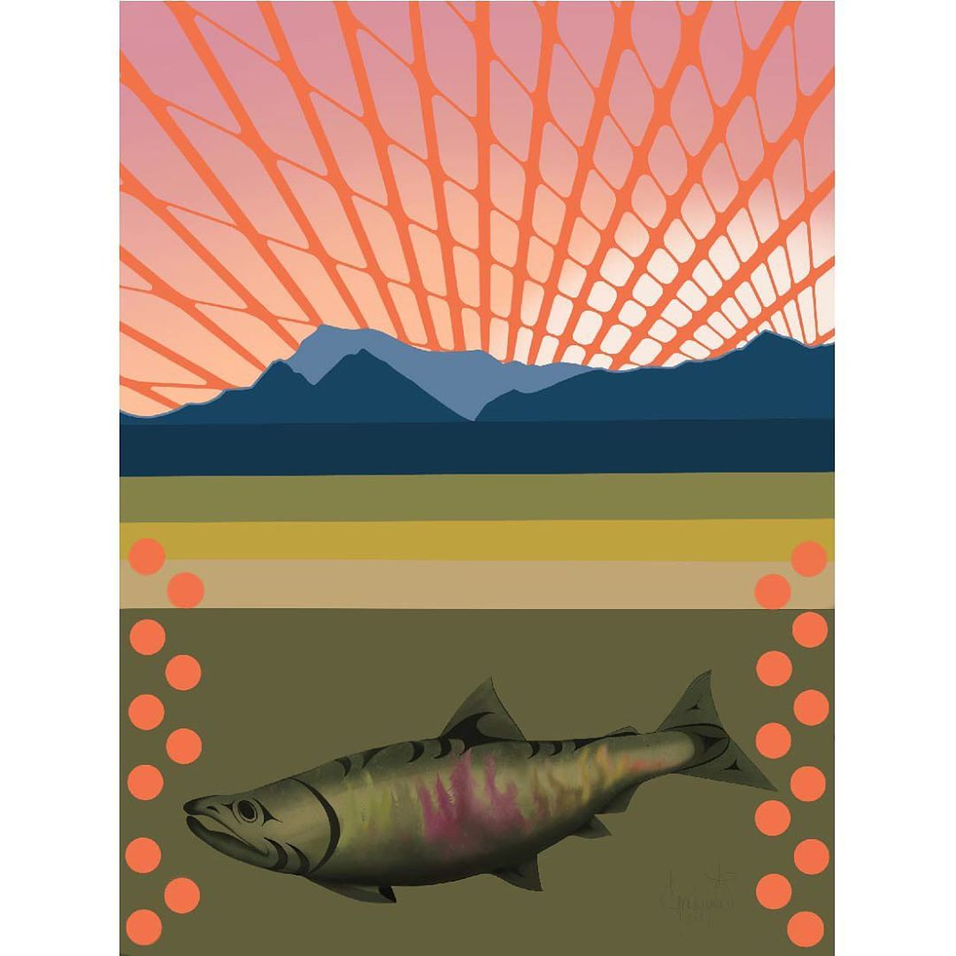 Rectangular image of salmon in green water under image of blue mountain with sun beams in red spinning out of mountain top