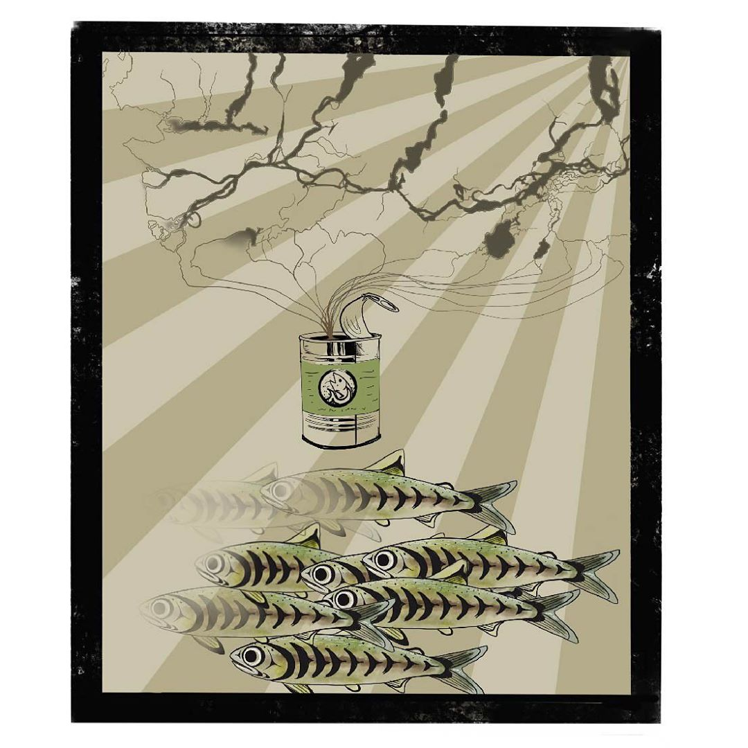 A rectangular image with a thick black border has a tree branch depicted on top of image in black, and salmon swimming in a group in the bottom while the background of the image is alternating sun beam like rays of beige and brown.