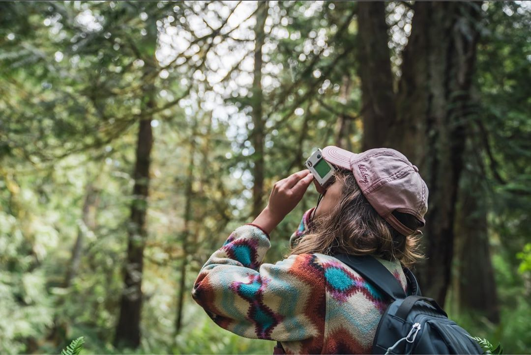 A scientist in a checked shirt and pale pink hat, carrying a backpack looks up at the trees inside the forest with a measuring device.