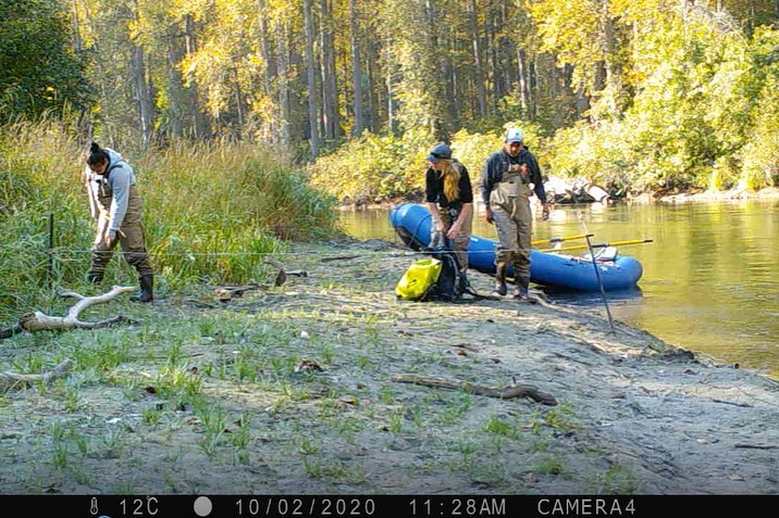 Two researchers seen pulling up a bright blue dinghy boat up from water in the Great Bear Rainforest.